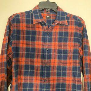 UNIQLO Size Medium Orange Navy Blue Plaid Shirt
